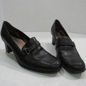 Aerosoles Black Leather Heel Pump Shoes Black 8.5W